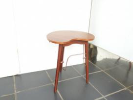 TEAK SMALL TABLE WI BOOK RACK